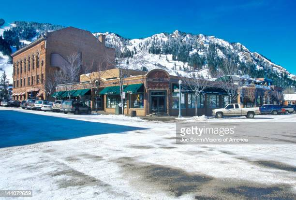 Storefronts and ski slope in the town of Aspen, Colorado