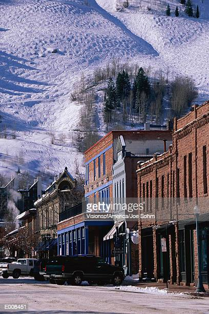 storefronts, aspen, colorado - aspen colorado stock photos and pictures