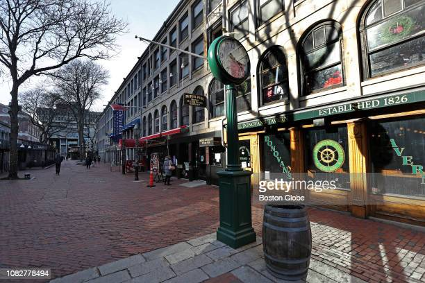 Storefronts at the Faneuil Hall Marketplace in Boston are pictured on Jan 7 2019 Today surrounded by change Faneuil Hall feels frozen in time Its...