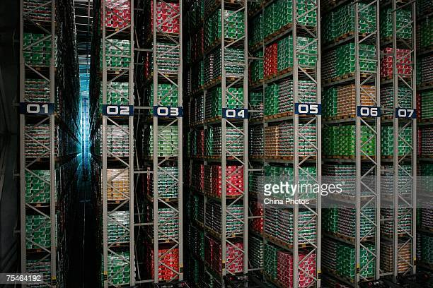 A storehouse fulled of boxes of liquid milk stands in the Yili Industrial Group Company on July 18 2007 in Huhehot of Inner Mongolia Autonomous...