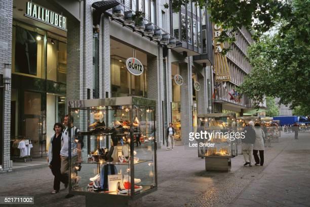 stores along kurfurstendam boulevard - kurfürstendamm stock pictures, royalty-free photos & images