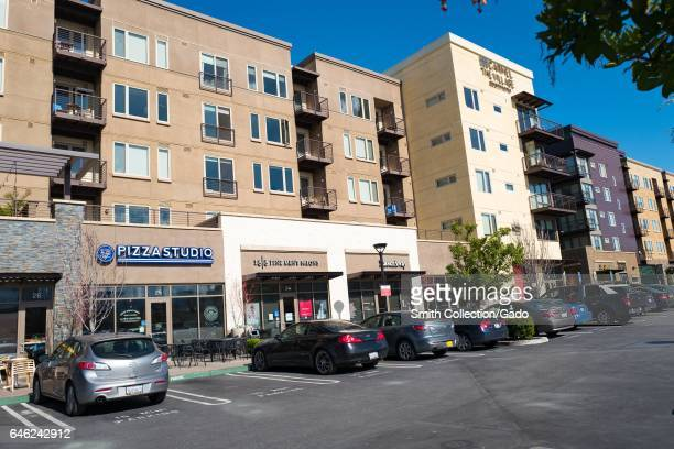 Stores and restaurants including Pizza Studio at San Antonio Center a popular shopping center in the Silicon Valley town of Mountain View California...