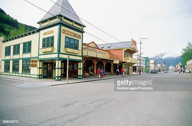 Stores at the side of a road, Skagway, Alaska, USA