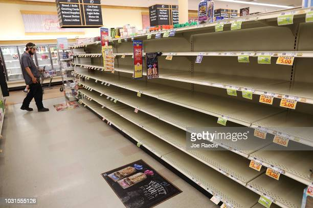 A store's bread shelves are bare as people stock up on food ahead of the arrival of Hurricane Florence on September 11 2018 in Myrtle Beach South...