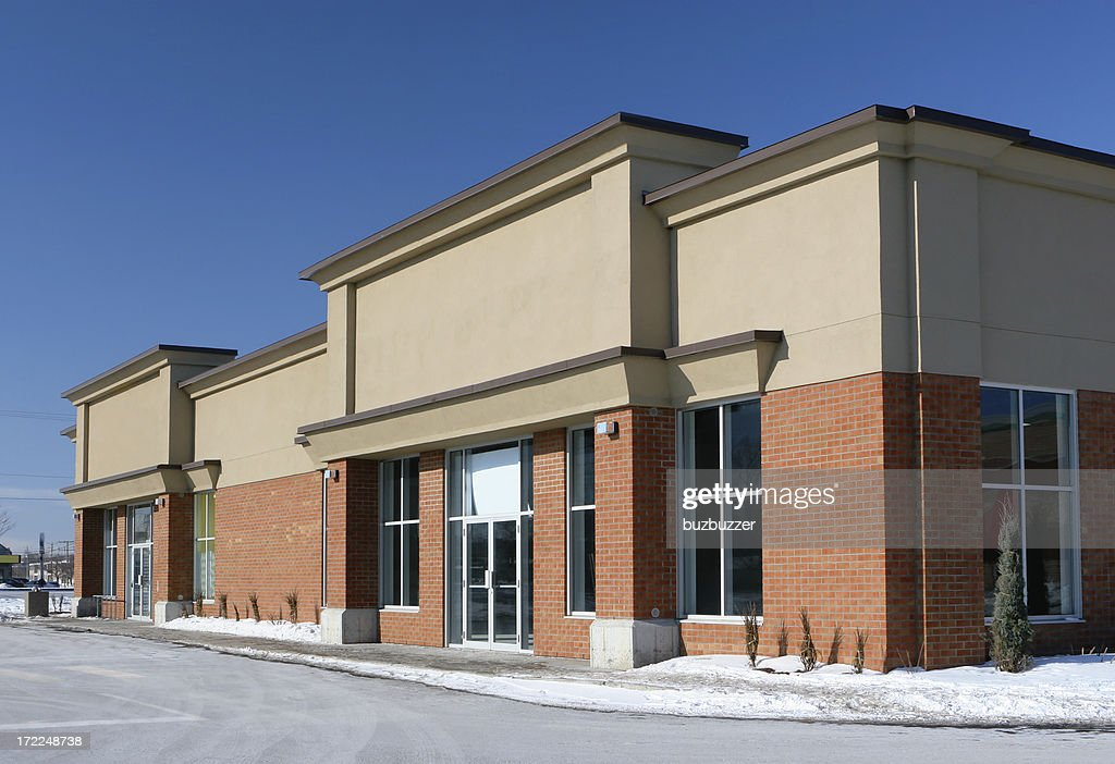 Stores Building Entrance in WInter : Stock Photo