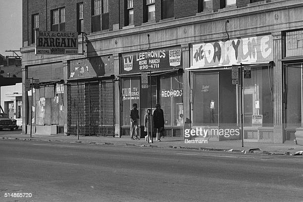 Stores on Twelfth Street in Detroit remain abandoned and boarded up almost three years after the 1967 Detroit Race Riots and resulting civic fires