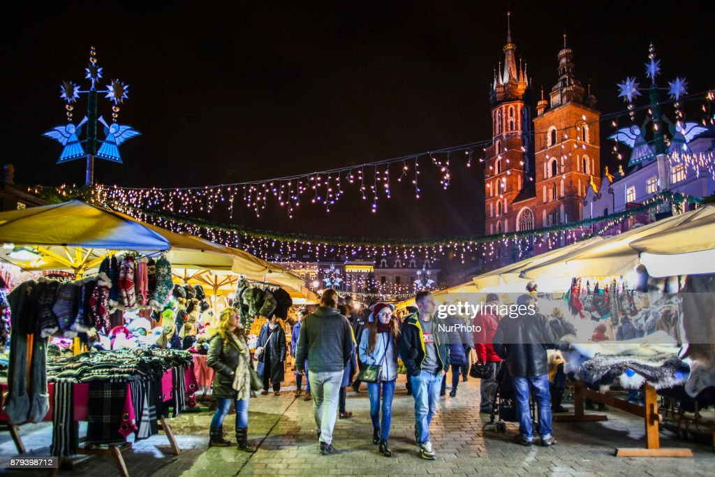 Krakow Poland - The Rynek Christmas Market is found in the market square of the old town.