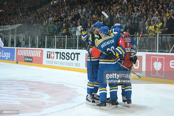 Storhamar Hamar celebrates in front of over 5000 people during the Champions Hockey League group stage game between Storhamar Hamar and...