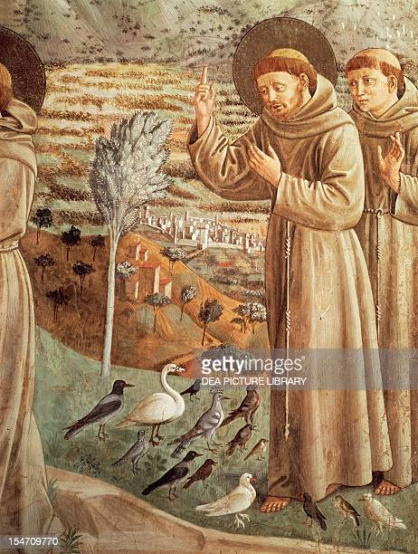 Stories from the life of St Francis, preaching to the birds , Cycle of frescoes by Benozzo Gozzoli , apsidal tribune, Church of St Francis,...