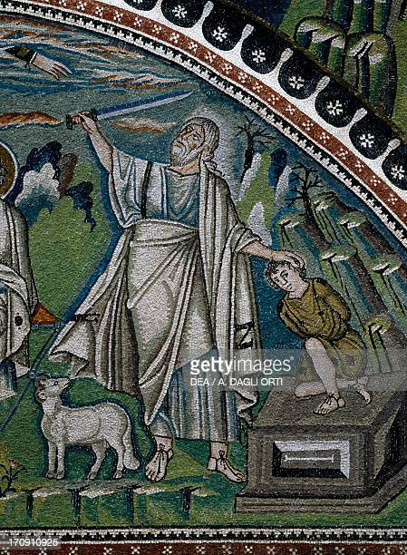 Stories of Abraham the sacrifice of Isaac detail of the lunette mosaics above the entrance to the ambulatory 538545 Basilica of San Vitale founded...