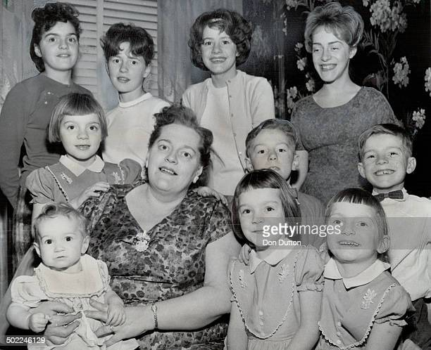 Stork Derby entrant Mrs Larry sheppard and 10 of her 12 children From left front Colleen Connie Jacqueline Ricky Centre Holly David Back Nancy Linda...
