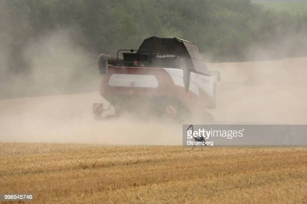 A stork walks in a wheat field as a Torum combine harvester manufactured by Rostselmash OJSC drives beyond during the summer harvest on a farm...