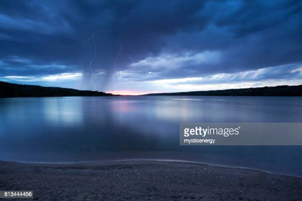 storm at buffalo pound saskatchewan canada - water's edge stock pictures, royalty-free photos & images