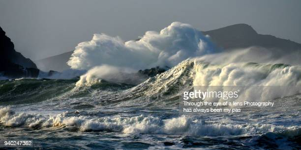 storm at clogher - rough stock pictures, royalty-free photos & images