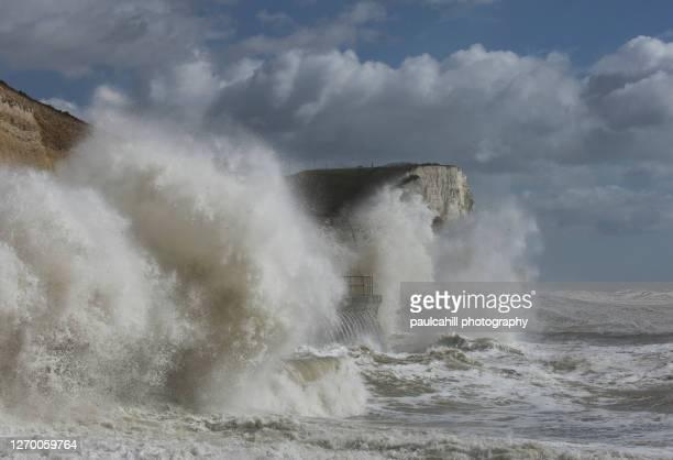 storm at saltdean - saltdean stock pictures, royalty-free photos & images
