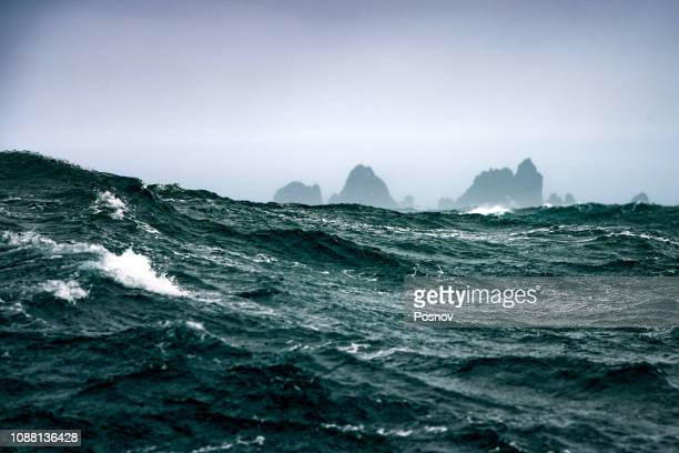 storm at south shetland islands - drake passage stock photos and pictures