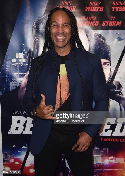 J Storm attends the premiere of Vision Films' 'Betrayed' at the TCL Chinese 6 Theatres on September 26 2018 in Hollywood California