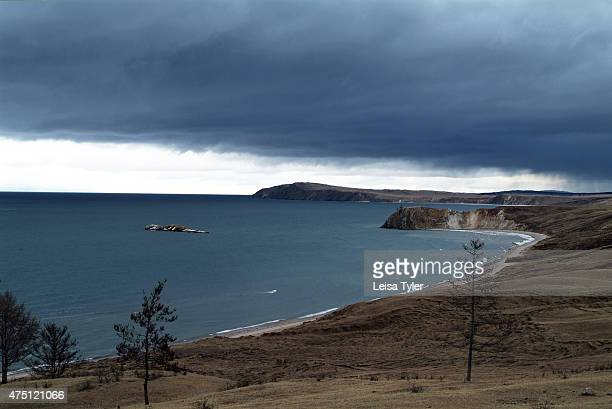 A storm brewing over Olkhon island the largest island in Lake Baikal Known as the soul of Siberia Lake Baikal was formed after a unique geographical...