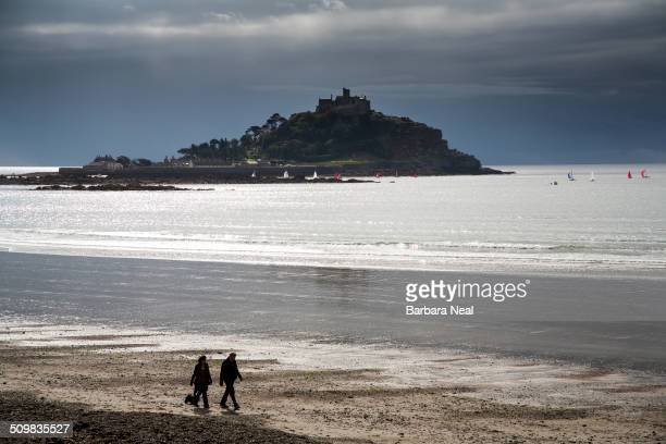 Storm brewing over St Michael's Mount Cornwall UK