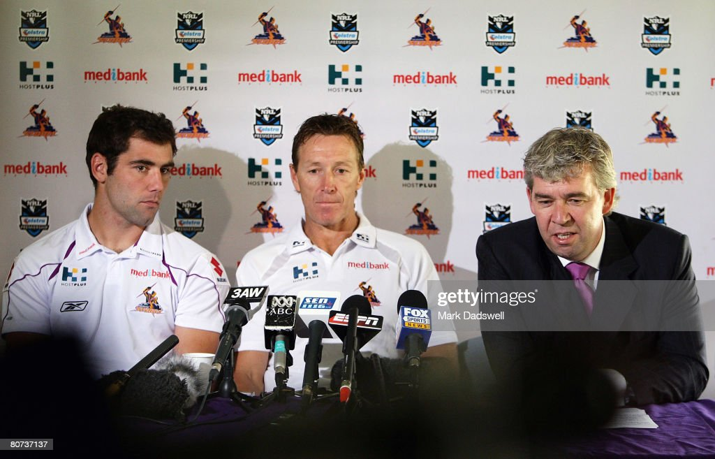 Storm captain Cameron Smith, Storm coach Craig Bellamy and Storm CEO Brian Waldron speak at a press conference to announce the extension of Bellamy's contract at the Storm headquarters MC Labour Park April 18, 2008 in Melbourne, Australia.
