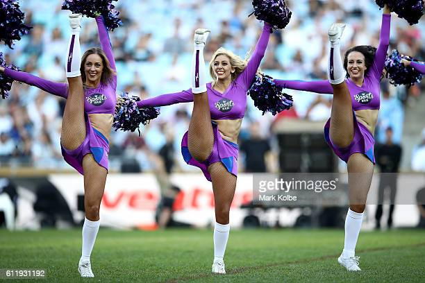 Storm cheerleaders perform before the 2016 NRL Grand Final match between the Cronulla Sharks and the Melbourne Storm at ANZ Stadium on October 2 2016...