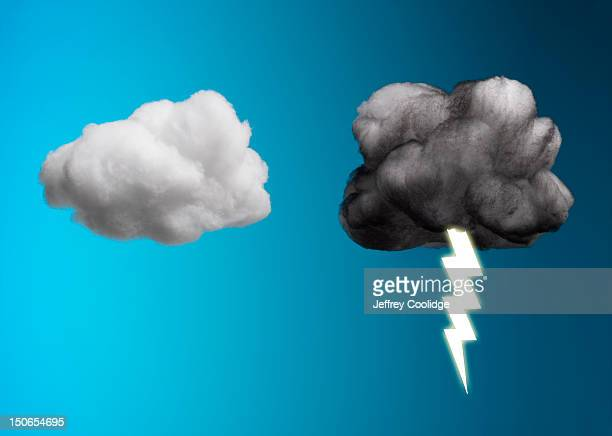 storm cloud and sunny cloud - newtechnology stock pictures, royalty-free photos & images