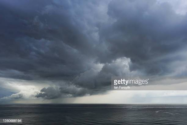 Storm cloud passes over the coast and out over the North Sea on June 19, 2020 in Saltburn By The Sea, United Kingdom.