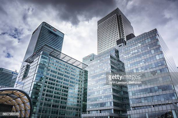 Storm clouds above Canary Wharf, London
