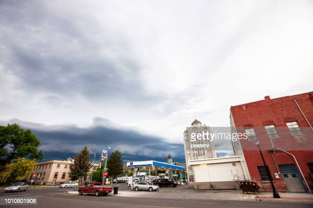 Storm clouds above historic Baker City, Oregon