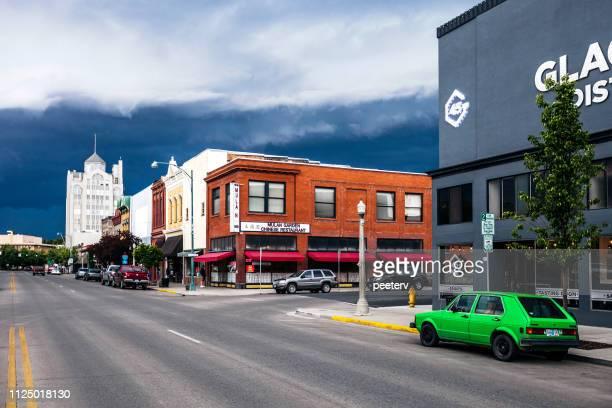 Storm clouds above historic Baker City, Oregon