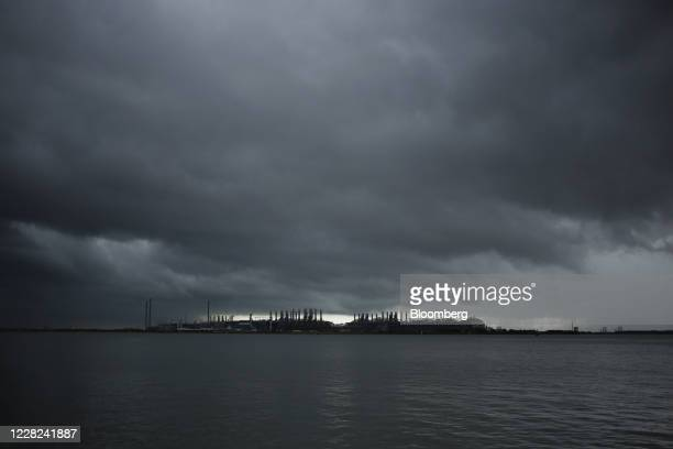 Storm clouds above the Sabine Pass LNG Export Terminal after Hurricane Laura made landfall in Port Arthur, Texas, U.S., on Friday, Aug. 28, 2020....