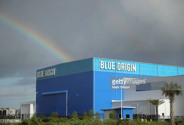 Storm clouds and a rainbow appear over Jeff Bezos Blue Origin Aerospace Manufacturer building as Hurricane Dorian approaches Florida, on August 31,...