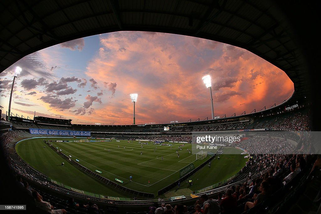 Storm clouds are pictured during the round 13 A-League match between the Perth Glory and the Western Sydney Wanderers at Patersons Stadium on December 27, 2012 in Perth, Australia.