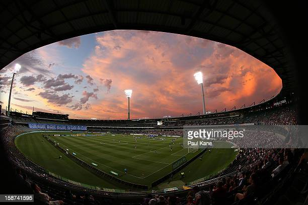Storm clouds are pictured during the round 13 A-League match between the Perth Glory and the Western Sydney Wanderers at Patersons Stadium on...