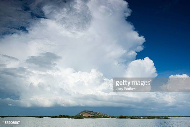 Storm clouds build over the Tonle Sap lake near the Tonle Sap Biosphere Reserve The area is a flooded forest and breeding ground for many endangered...