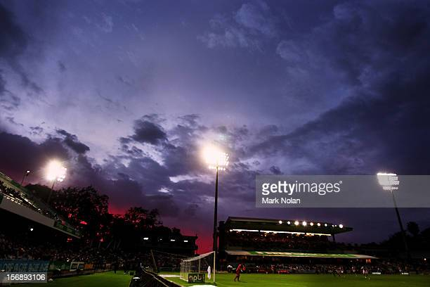 Storm clouds clear as the sun sets during the round eight ALeague match between Perth Glory and Wellington Phoenix at NIB Stadium on November 24 2012...