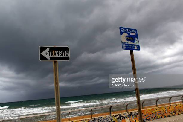 Storm clouds form as Hurricane Maria approaches the island in Luquillo Puerto Rico Tuesday Sept 18 2017 Maria headed towards the Virgin Islands and...