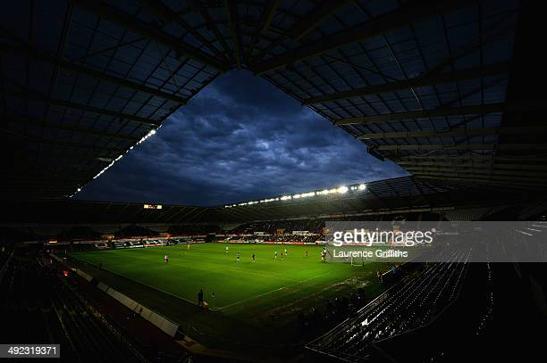 Storm clouds gather during the 2015 UEFA European U21 Championships Qualifier between Wales and England at Liberty Stadium on May 19, 2014 in...