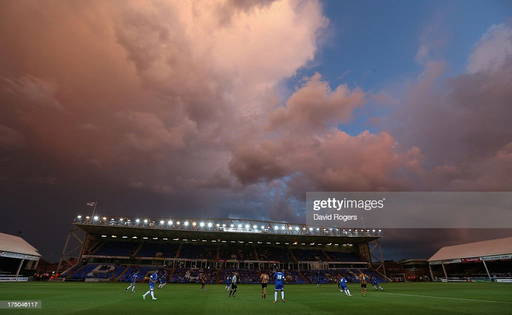 Storm clouds gather during the pre season friendly match between Peterborough United and Hull City at London Road Stadium on July 29, 2013 in Peterborough, England.