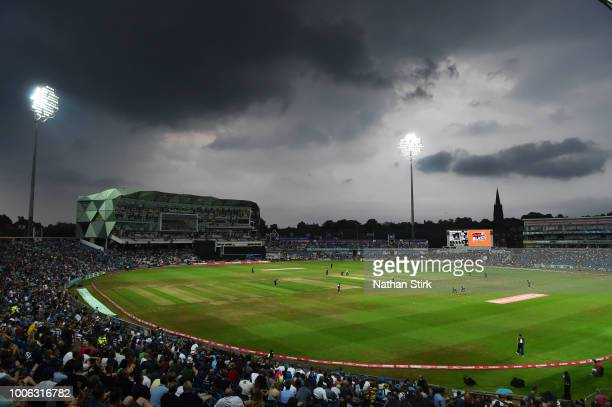 Storm clouds gather over Headingley during the Vitality Blast match between Yorkshire Vikings and Birmingham Bears on July 27, 2018 in Leeds, England.