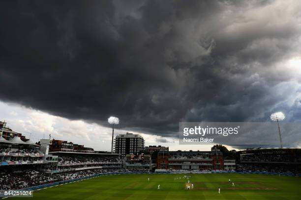 Storm clouds gather over Lord's Cricket Ground during England v West Indies 3rd Investec Test Day Two at Lord's Cricket Ground on September 8 2017 in...