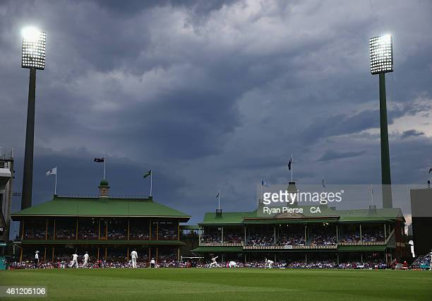 Storm clouds gather over the ground during day four of the Fourth Test match between Australia and India at Sydney Cricket Ground on January 9, 2015...