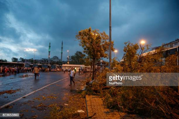 Storm clouds gather overhead at the port of Kadkoy in Istanbul Turkey on July 27 2017