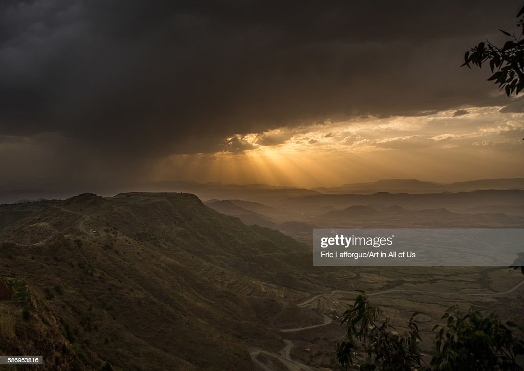 Storm clouds gathering over a valley, Amhara region, Lalibela, Ethiopia : News Photo