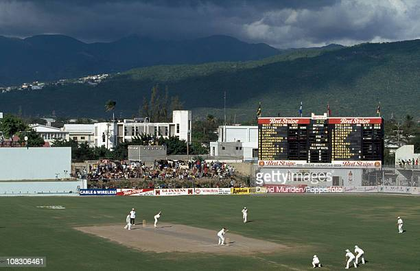 Storm clouds gathering over the ground during the 1st Test match between the West Indies and England played at Sabina Park in Kingston Jamaica 19th...