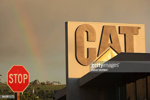 Storm clouds hold a rainbow in the skies near Quinn Co Caterpillar on January 26 2009 in City of Industry California Under presser of a worsening...