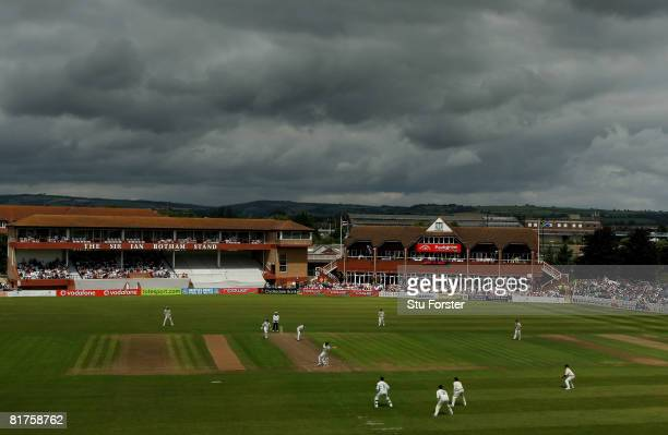 Storm clouds hover overhead as play gets underway at the County ground during day one of the tour match between Somerset and South Africa at The...