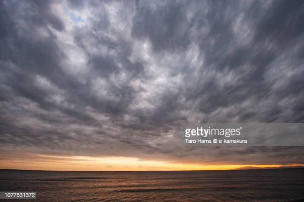 Storm clouds on Sagami Bay in Japan in the sunset