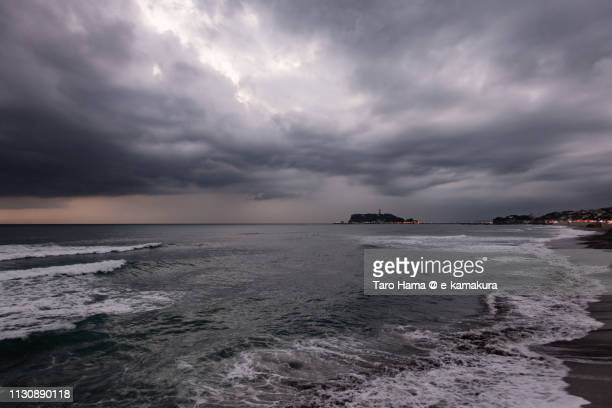 Storm clouds on Sagami Bay, Pacific Ocean and Enoshima Island in Kanagawa prefecture in Japan