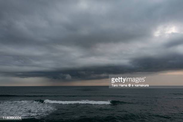 Storm clouds on Sagami Bay, Pacific Ocean in Kanagawa prefecture in Japan